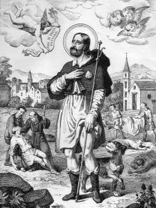 San Rocco - Litografia dell'800 di Francesco Apicella